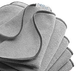 PerfectCLEAN® Grey 16'' x 16''All-purpose Antimicrobial Micro-denier washable and sustainable Terry Wiper (ultra microfiber cleaning cloth)-For household, automotive and professional cleaning use (pack of 5)