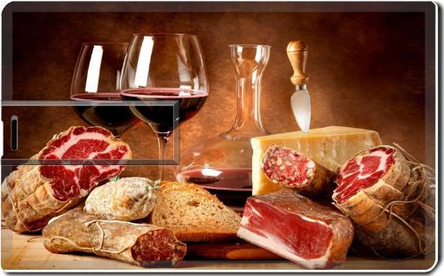 Sliced Meat Wine Food Dinner 8G Usb Flash Drive 2.0 Memory Stick Luxlady Usb Credit Card Size Customized Support Services Ready Windows Mac Storage External front-600374