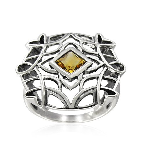 Sterling Silver Celtic Square-Shaped Citrine Ring, Size 9