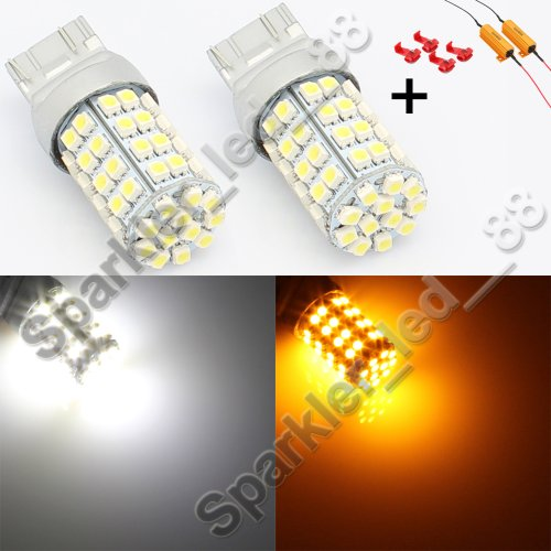 Splendid Autos 60-Smd 7443 Dual-Color Switchback Led Bulbs (60-White 60-Amber) + Load Resistor