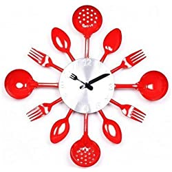 Quartz Mute Wall Clock Knife Fork Spoon Originality Clock Kitchen Restaurant the Wall Decoration (Red)