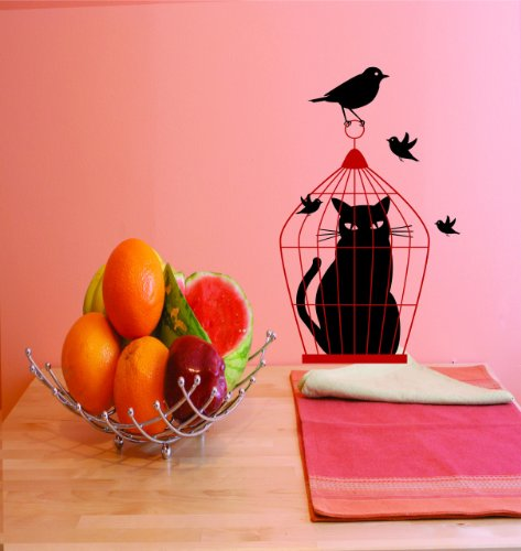 Cat In Bird Cage Picture Art - Kids Bed Room - Peel & Stick Sticker - Vinyl Wall Decal - 24 Colors Available
