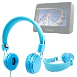 DURAGADGET Ultra-Stylish Blue Kids Fashion Headphones With Padded Design, Button Remote And Microphone For Nextbase Click & Go Click 7 Lite Duo Twin Screen Portable DVD Player