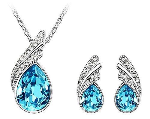 Ciondolo a goccia Amore Eterno, Lacrima in blu Swarovski elements cristallo austriaco, orecchino di goccia della vite prigioniera set da donna, Parure di gioielli [RM4084]