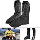 One Pair Mens Motorcycle Street Bike Black Waterproof Outdoor Footwear Protector Gear Rain Boot Shoe Cover Zipper Reflective Tag Safe US 12-13 / Euro 46-47 by NYC Leather Factory Outlet