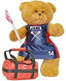 "Lacrosse Bear 18"" Jointed Sports Bear - Girl with Navy Uniform/Pink Stick"