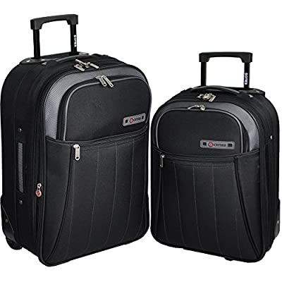 5 Cities/Frenzy Travel Luggage Suitcase Sets, Includes Cabin Trolley Bags for Ryanair and Easyjet (Fits 50x40x20, 55x40x20cm) Medium, Large & XL Suitcases Black 412 Set of 2 18/21