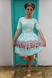 1950s Style Aqua Flamingo Print Ladies Dress - Silly Old Sea Dog - - Size 16