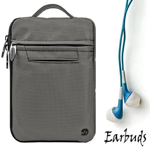 "Gray Durable Nylon Protective Carrying Cover Sleeve Case For Pandigital Novel 7"" Color Multimedia Ereader + Includes A Crystal Clear High Quality Hd Noise Filter Ear Buds Earphones Headphones ( 3.5Mm Jack )"