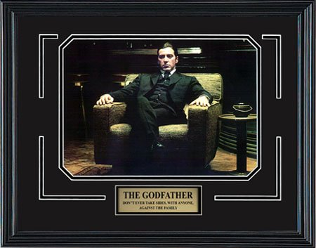 The Godfather Part II. Al Pacino as Don Michael Corleone. Framed Movie Photo in the Black Modern Real Wood Frame (15 x 12) (Mafia Pictures compare prices)
