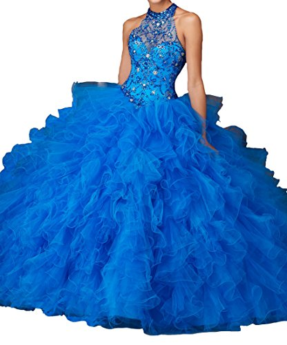 Jianda Sweet 16 Girls Women's High Neck Beads Ball Gowns Long Quinceanera Gown With Jacket 18 US Blue (Blue Quinceanera Dresses compare prices)