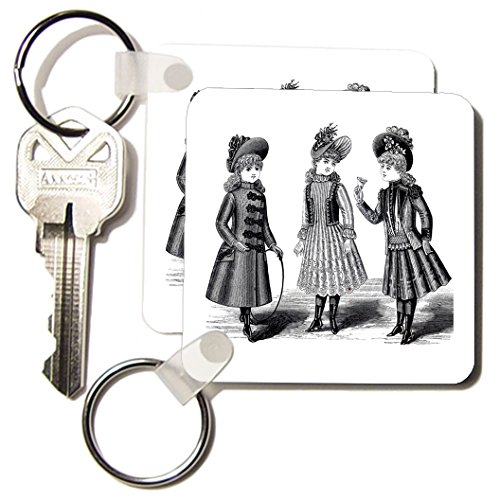 Kc_196323_1 Florene - Victorian Images - Print Of 3 Victorian Girls Dressed Up Share Ice Cream - Key Chains - Set Of 2 Key Chains front-1039509