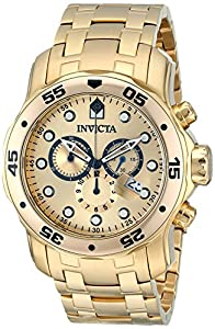 """Invicta Men's 0074 """"Pro Diver"""" Chronograph 18k Gold-Plated Stainless Steel Watch"""