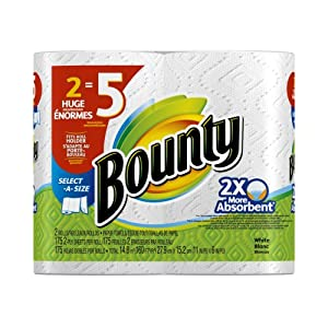Bounty Select-A-Size Paper Towels, White, 2 Huge Rolls, Pack of 6 (12 Rolls) (Packaging May Vary)