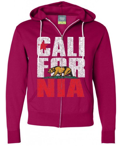 California Republic Vintage Retro Text Zip-Up Hoodie By Dsc - Brite Pink Large front-495981