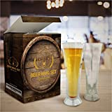 Stargoods Double Walled Beer Glasses - Set of 2 Mugs + Bottle Opener Ring