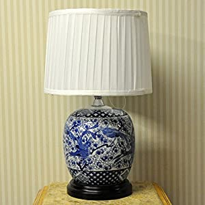 """23"""" Traditional Style Blue & White Bird Ceramic Base with White Pleated Shade Table Lamp"""