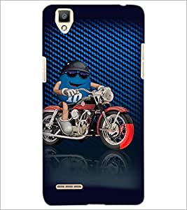 PrintDhaba Bike Rider D-3819 Back Case Cover for OPPO F1 (Multi-Coloured)