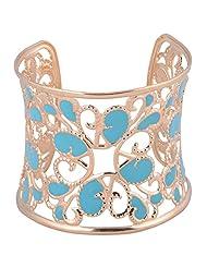 Princessories Metal Cut Filigree Cuff Bracelets - Gold And Blue