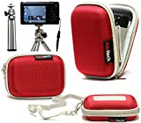 Navitech Red Water Resistant Hard Digital Camera Case Cover & Compact Stand For The Samsung SMART CAMERA WB250F / WB800F / WB30F / ST150F / DV150F / WB150F / ST200F / WB850F / DV151F