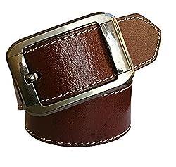 Sunshopping mens brown pin buckle leather belt (shinebrhbk002) (Free Size)