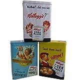 Set of 3 Vintage Kelloggs Cereal Tin Rice Krispies Corn Flakes Designs Storage Official