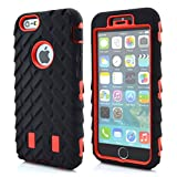 Meaci® Cellphone Case for Iphone 6 Plus 5.5 Inch Case 3in1 Tire Stripe Combo Hybrid Defender High Impact Body Armorbox Hard Pc&silicone Protective Bumper Case (Tire red)