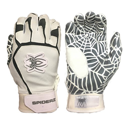 Spiderz White/Grey WEB Baseball/Softball Batting Gloves w/Spider Web Grip in Adult & Youth Sizes (Adult Large) (Slow Pitch Batting Gloves compare prices)