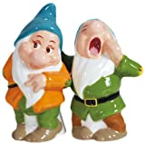 Westland Giftware Magnetic Ceramic Disney Snow White Bashful and Sleepy Salt and Pepper Shaker Set, 4-Inch