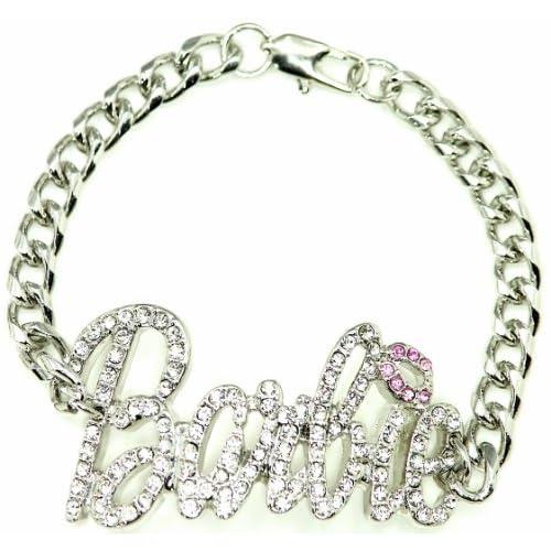 Nicki Minaj Barbie Iced Out ID Style Bracelet Silver Color/Pink Lips