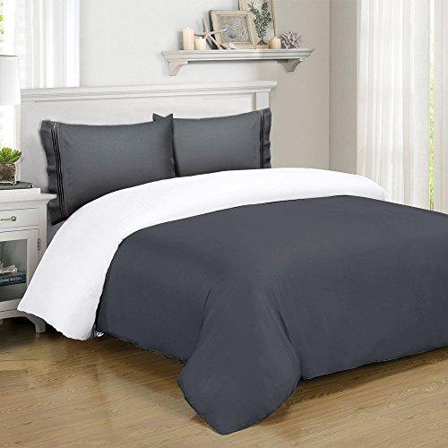 queen full dark grey duvet cover set with 2 pillowcases gray full queen size duvet cover 90. Black Bedroom Furniture Sets. Home Design Ideas