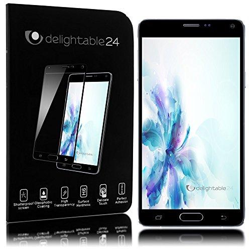 delightable24 Pellicola Protettiva Vetro Temprato Glass Screen Protector Copertura 100% Smartphone SAMSUNG GALAXY NOTE 4 - Transparente (Nero)