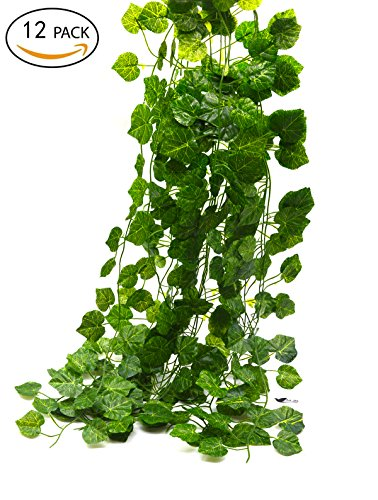 Bird Fiy 78 Ft-12 Grape leaves Artificial Fake Hanging Vine Plant Leaves Garland Home Garden Wall Decoration (Green Artificial Grapes compare prices)