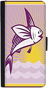 Snoogg Flying Fish At Sea Ocean Square Retro Graphic Snap On Hard Back Leathe...