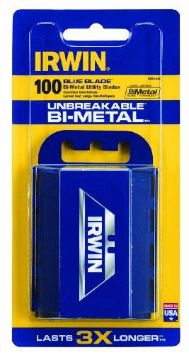 Irwin Industrial Tools 2084400 Bi-Metal Blue Utility Blade, 100-Pack