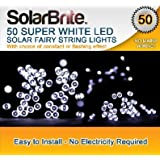 Solar Brite Deluxe 50 LED Super Bright White Decorative Solar Fairy String Lights, choice of light effect. Ideal for Trees, Gardens, Festive Parties & More...by Solar Brite