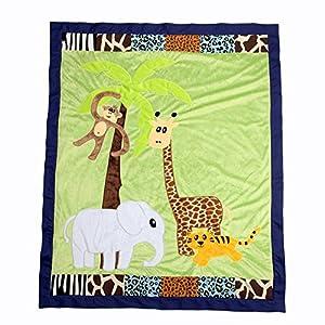 One Grace Place Jazzie Jungle Boy Medium Quilt, Light Blue, Navy Blue, Chocolate Brown, Black, Lavendar, Green