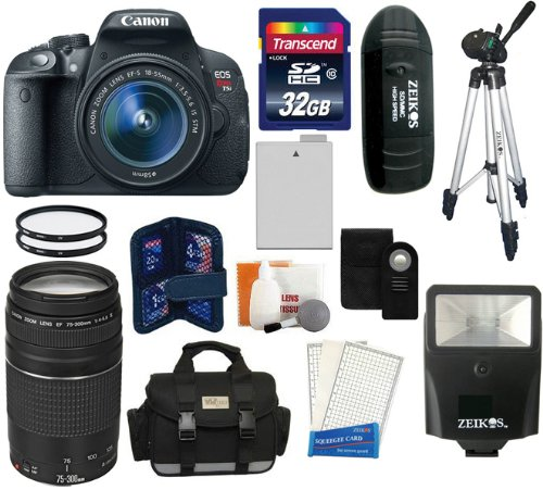 Canon Eos Rebel T5I D-Slr Camera With Ef-S 18-55Mm F/3.5-5.6 Is Stm Lens + Canon Zoom Telephoto Ef 75-300Mm F/4.0-5.6 Iii Autofocus Lens + 32Gb Card + Case + Spare Battery + Flash + Tripod + Accessory Kit