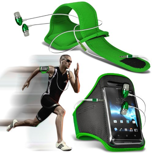 Nokia Lumia 929 Icon Universal Sports Armbands Running Bike Cycling Gym Jogging Ridding Arm Band Case Cover & Premium Quality In Ear Buds Stereo Hands Free Headphones Headset With Built In Microphone Mic & On-Off Button (Green) By Spyrox