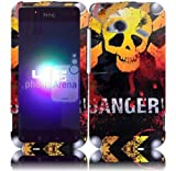 VMG 3-ITEM Combo HTC Droid Incredible 4G LTE Design Hard Case Cover - Danger Skull Design Hard 2-Pc Plastic Snap On Case Cover + LCD Clear Screen Protector + Premium Car Charger for Verizon Wireless HTC Droid Incredible 4G LTE *2012 Model* Cell Phone [by VANMOBILEGEAR]