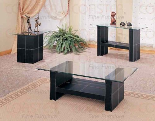 Cheap Black Bonded Leather Base Glass Top Occasional Set (B004LNVNUS)