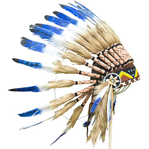 Feather Headdress - ADJUSTABLE KIDS SIZE - Indian Inspired - Blue & White (Steam Iron For Hats compare prices)