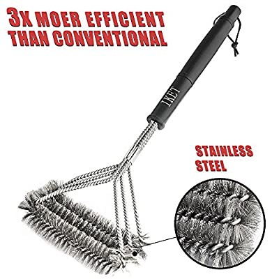 BBQ Grill Brush,IKET 18'' Best Barbecue Grill Cleaner-3 Stainless Steel Brushes in 1-Perfect For Weber,Char-Broil,Porcelain&Infrared Grills