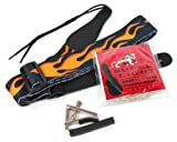 Bray's Strap, Capo And Strings Bundle With Flaming Terylene Strap, Chrome Finish Screw Capo And Bray Super Light Bronze Wound Acoustic Guitar Strings (10 - 48) Perfect For Gibson, Ibanez, Tanglewood, Yamaha & Fender Acoustic Guitars - Includes Vinyl Stic