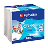 "Verbatim CD-R 52x 700MB Printable Surface Slim Case CD-Rohlinge 20er Packvon ""Verbatim"""