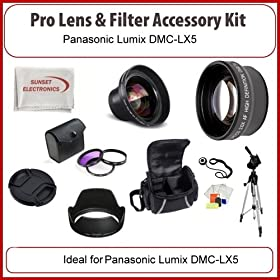 Electronics camera photo camcorders godrules online store pro lens filter kit for panasonic lumix dmc lx5 digital cameras including wide angle macro lens 2x telephoto lens 3 piece filter kit carrying case fandeluxe Gallery
