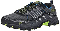 Fila Men\'s AT Tractile Running Shoe, Castlerock/Black/Lemon Punch, 7 M US