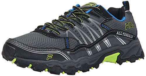 Fila Men's AT Tractile Running Shoe, Castlerock/Black/Lemon Punch, 10 M US