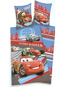 Parure linge de lit housse de couette Cars Disney McQueen enfant garcon