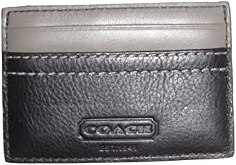 Men's Coach Signature Heritage Web Leather Slim Card Case Black